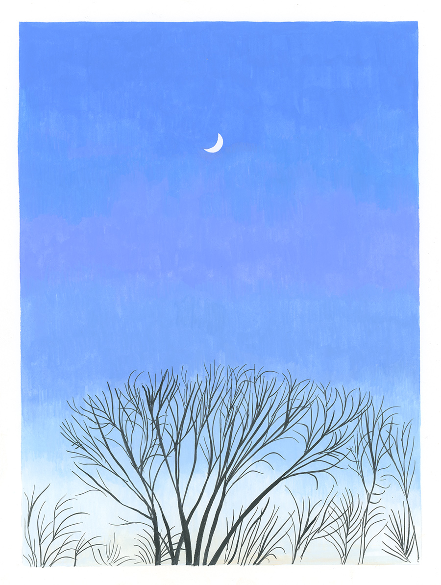 Moon, Jan. 21, 5:02 pm , 2018, gouache on Fabriano paper, 8 x 6 in.