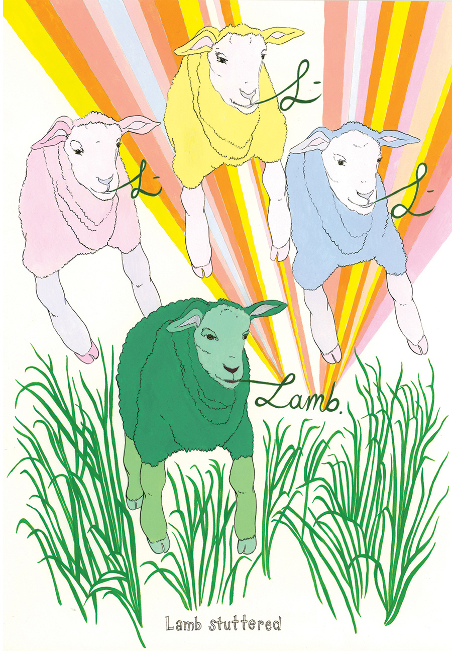 """""""Lamb stuttered"""" from  Of Lamb , poems by Matthea Harvey (McSweeney's 2011); gouache and ink on paper, 10 x 7 in."""