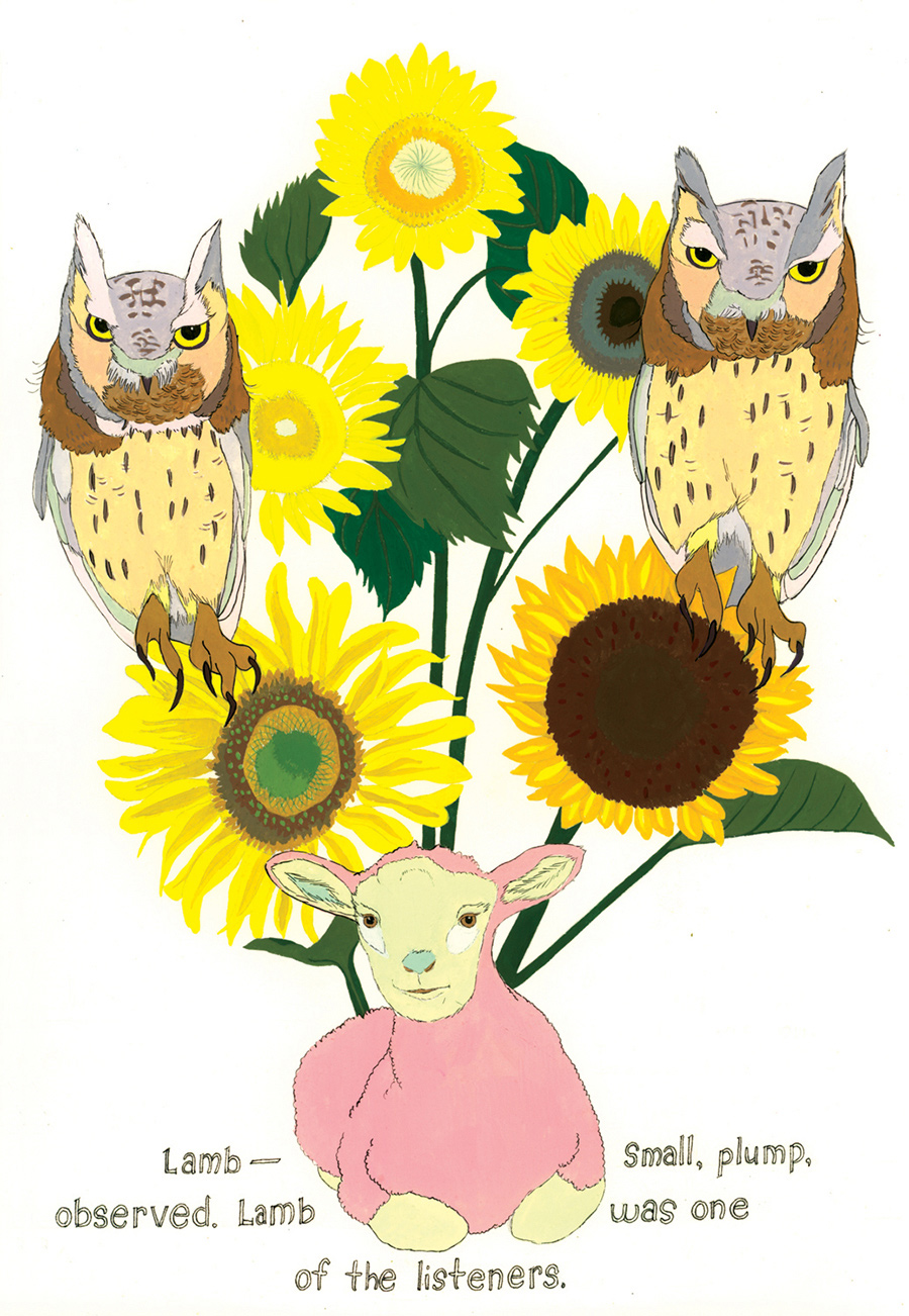 """Lamb—small, plump, observed"" from  Of Lamb , poems by Matthea Harvey (McSweeney's 2011); gouache and ink on paper, 10 x 7 in."