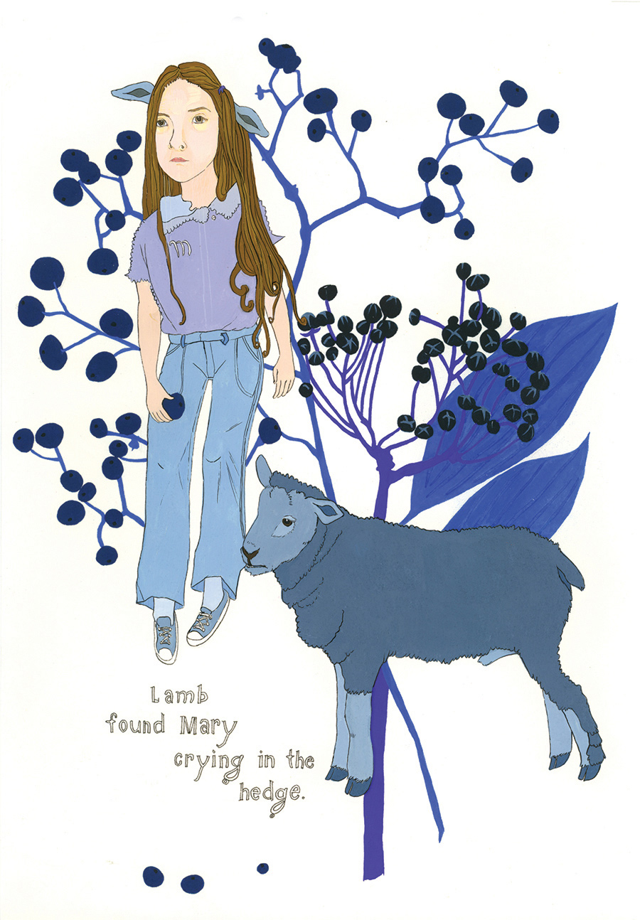 """Lamb found Mary"" from  Of Lamb , poems by Matthea Harvey (McSweeney's 2011); gouache and ink on paper, 10 x 7 in."