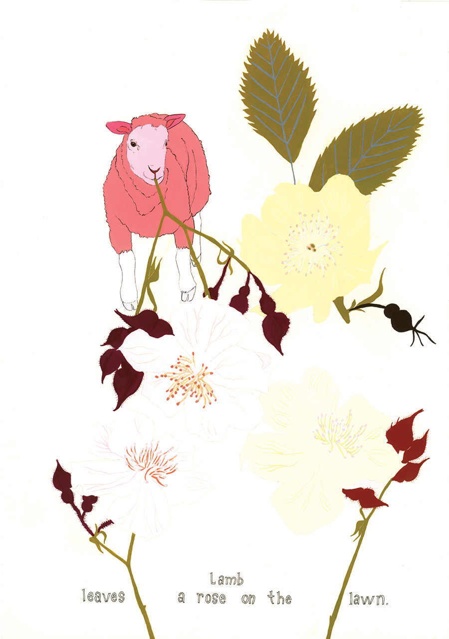 """""""Lamb leaves a rose"""" from  Of Lamb , poems by Matthea Harvey (McSweeney's 2011); gouache and ink on paper, 10 x 7 in."""