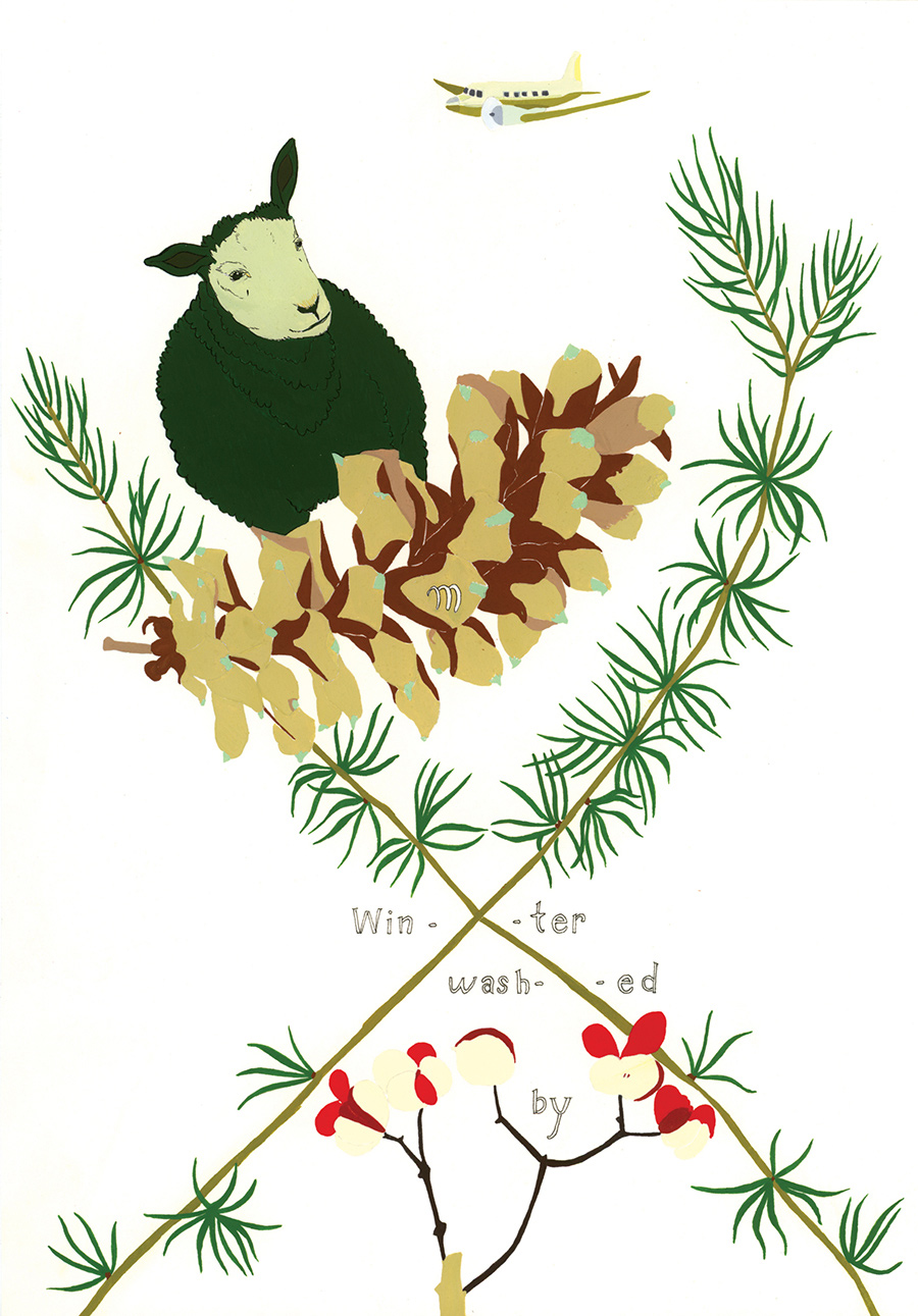 """Winter washed by"" from  Of Lamb , poems by Matthea Harvey (McSweeney's 2011); gouache and ink on paper, 10 x 7 in."