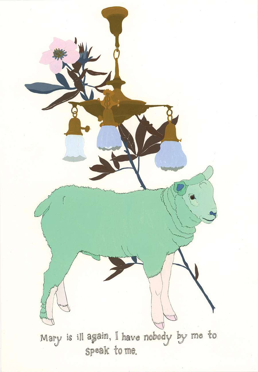 """""""Mary is ill again"""" from  Of Lamb , poems by Matthea Harvey (McSweeney's 2011); gouache and ink on paper, 10 x 7 in."""