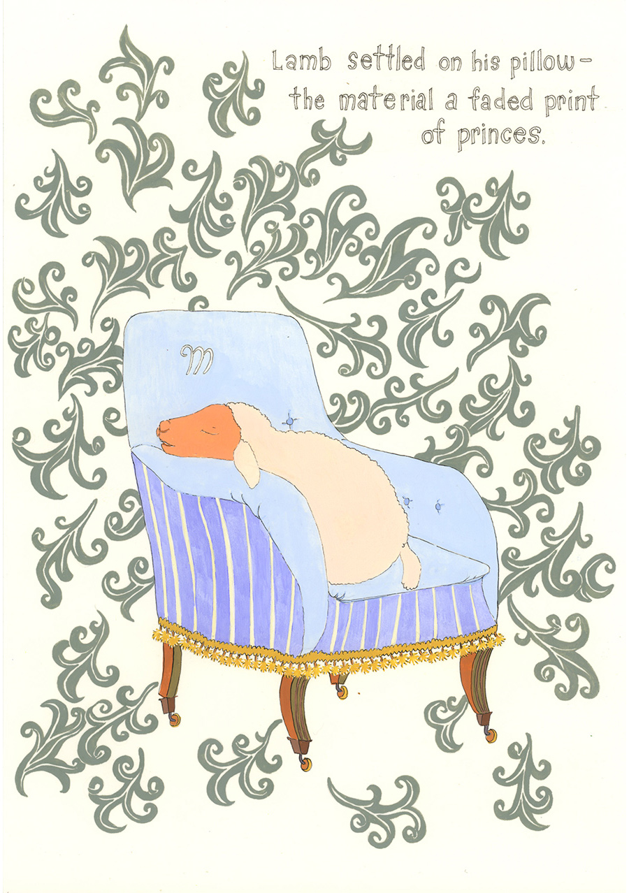 """Lamb settled on his pillow"" from  Of Lamb , poems by Matthea Harvey (McSweeney's 2011); gouache and ink on paper, 10 x 7 in."
