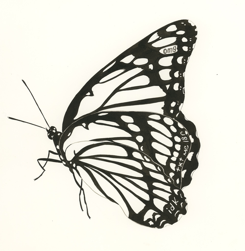 Omg  from  Butterfly Messages , 2012, ink on paper