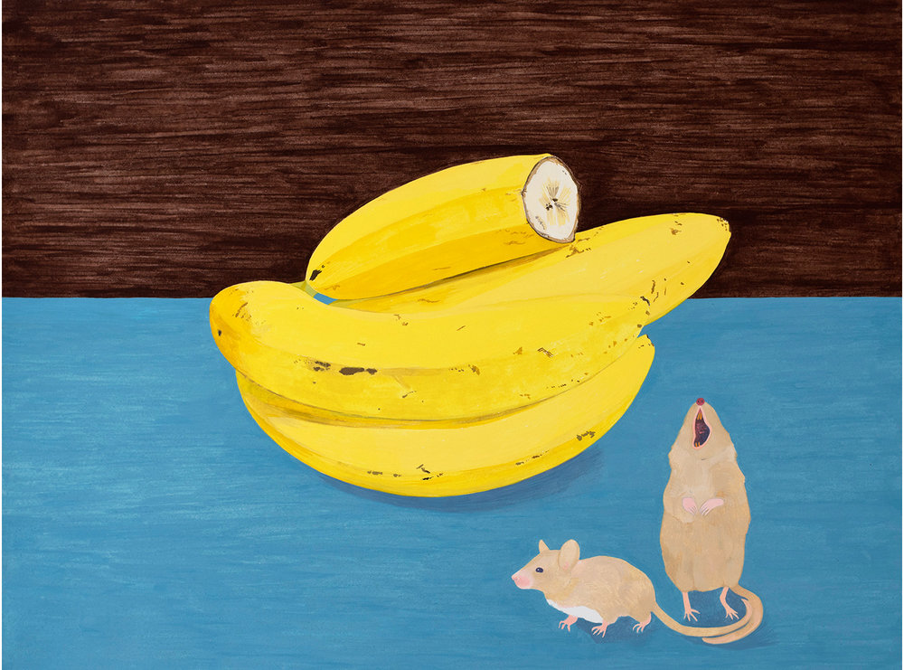 Mouse Bananas , 2017, gouache on Arches paper, 12 x 16 in.