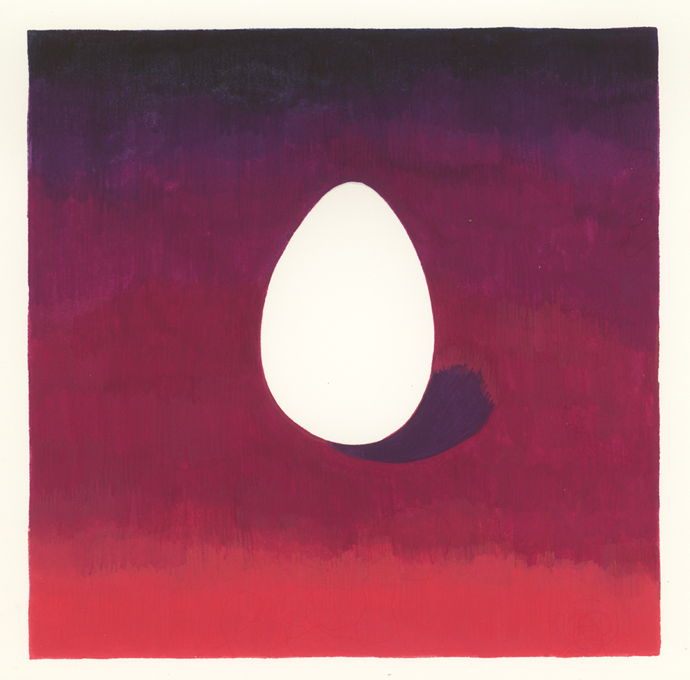 Super Egg , 2016, gouache on Arches paper, 5 x 5 in.