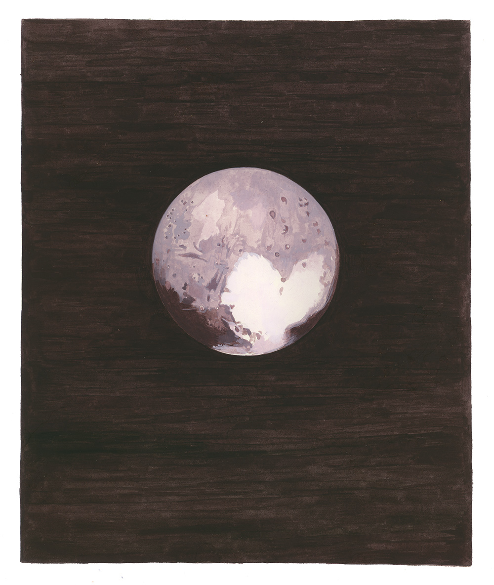 Pluto , 2017, gouache on Arches paper, 9 1/2 x 8 in.