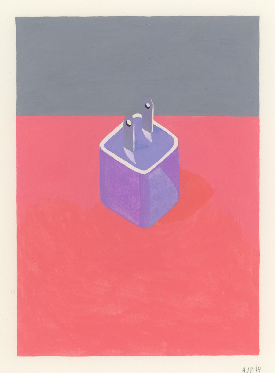 Plug , 2014, gouache on Arches paper, 5 1/2 x 4 in.