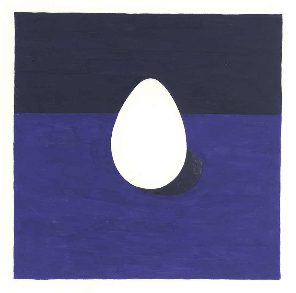 Egg , 2016, gouache on Arches paper, 5 x 5 in.