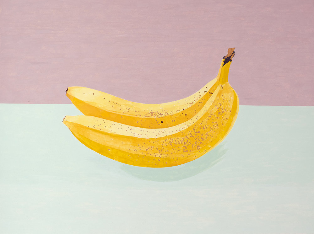 Two Bananas , 2016, gouache on Arches paper, 12 x 16 in.