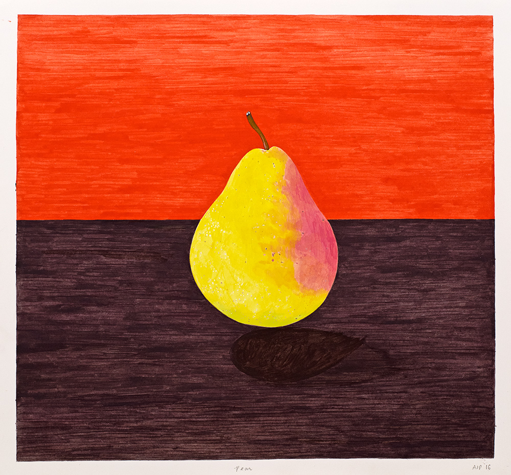Table Fruit (Pear) , 2016, gouache and ink on Arches paper, 12 x 13 in.