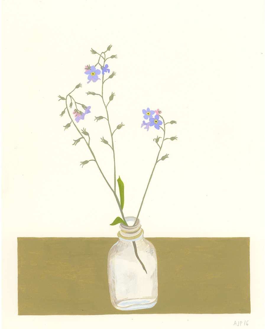Forget-Me-Not , 2016, gouache on Arches paper, 8 x 5 in.