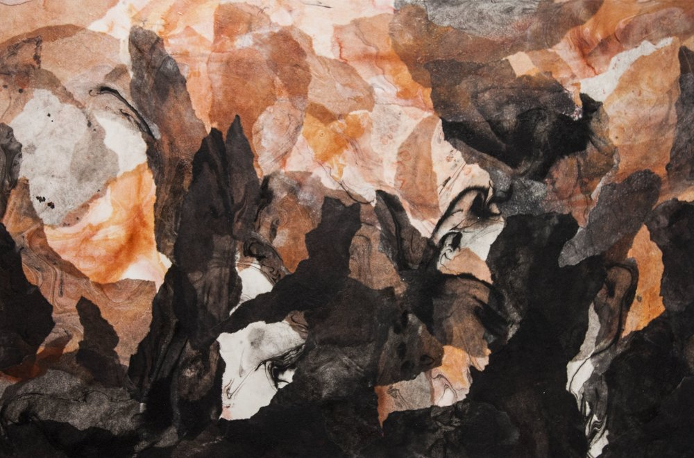 """Abstract Landscape (Terra), 2016, Acrylic ink, sumi ink, sumi-e paper, and gloss medium on canvas, 36"""" x 24"""""""