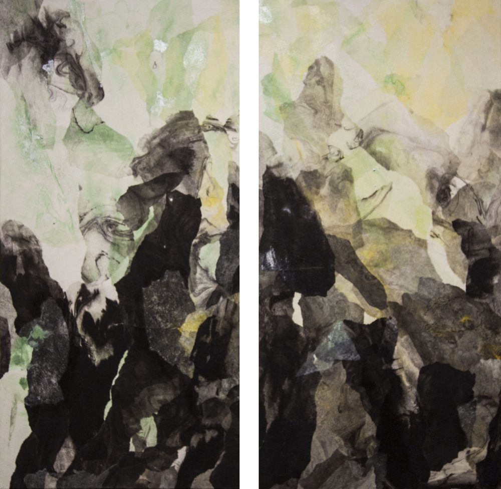 """Abstract Landscape (Spring), 2016, Diptych, Acrylic ink, sumi ink, sumi-e paper, and gloss medium on canvas, 36"""" x 18""""each"""
