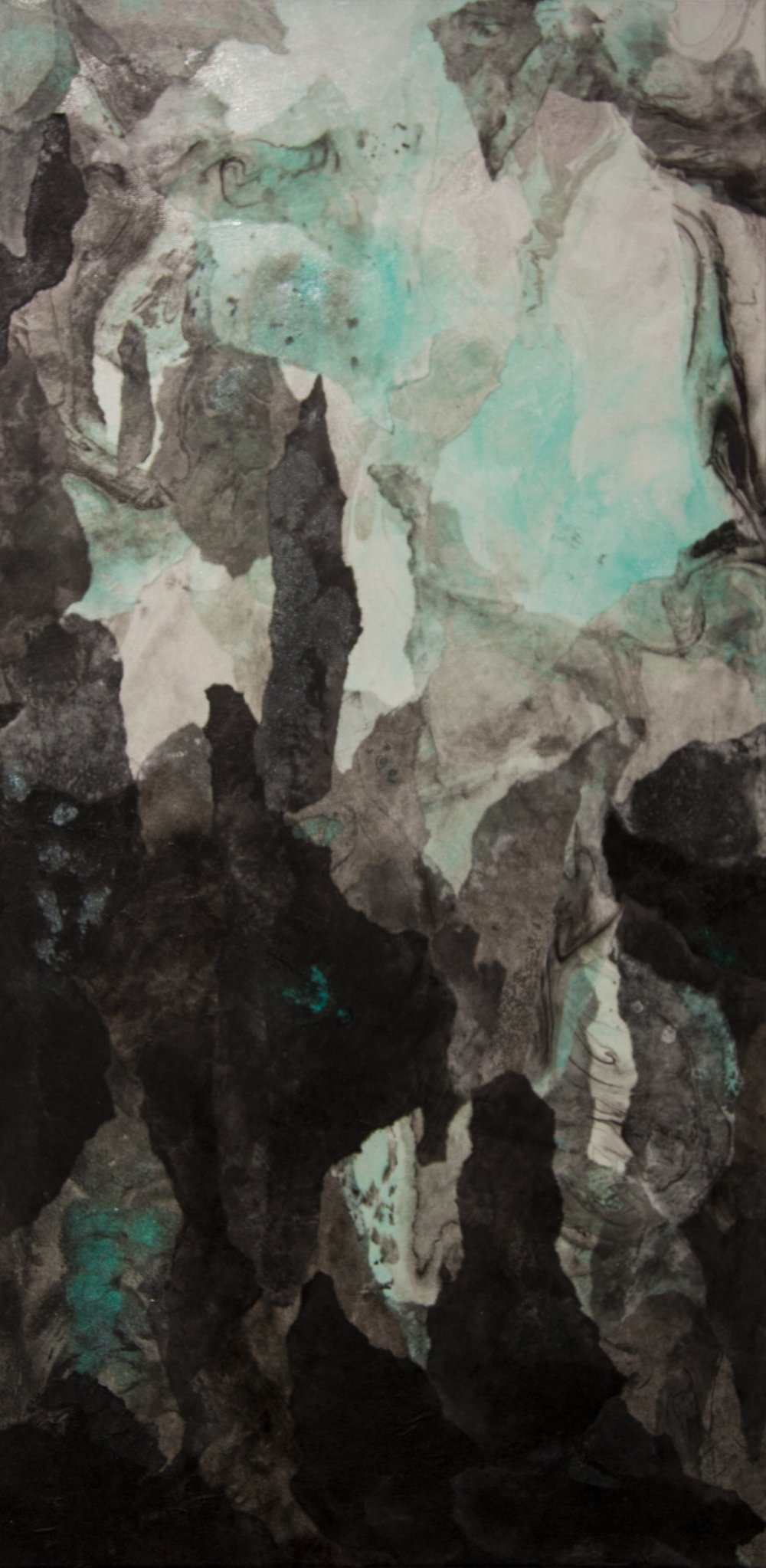 """Abstract Landscape (Teal), 2016, Acrylic ink, sumi ink, sumi-e paper, and gloss medium on canvas, 36"""" x 18"""""""
