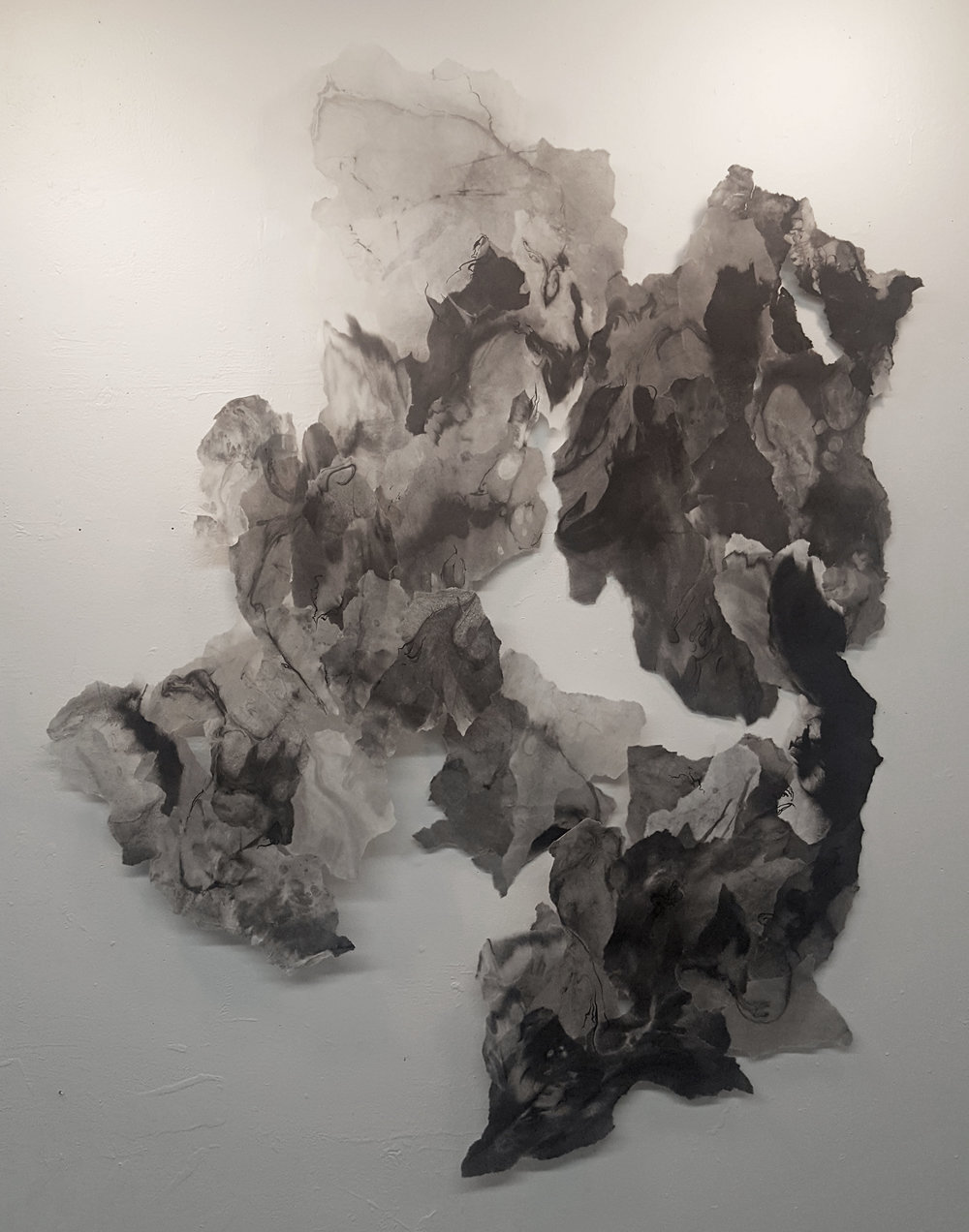 """Expanse, 2017, Sumi ink, india ink, rice paper and matte medium, 55"""" x 68"""""""