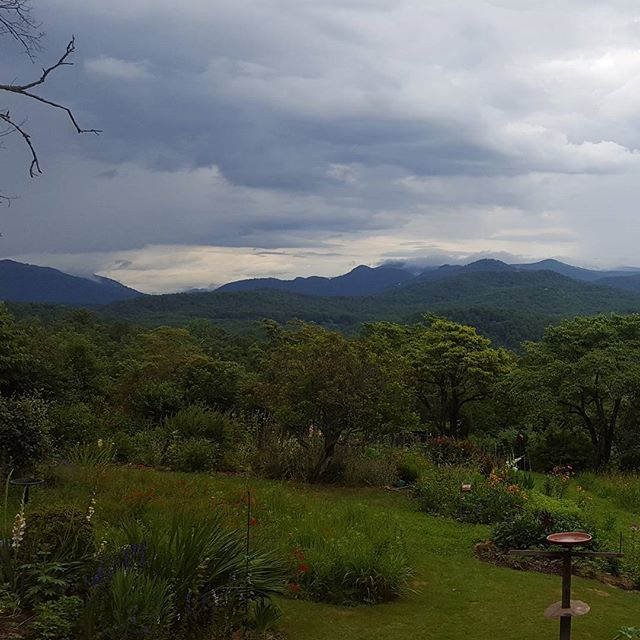 Lovely view from cousin Lewis' cabin of the mountains and his extrodinary garden.