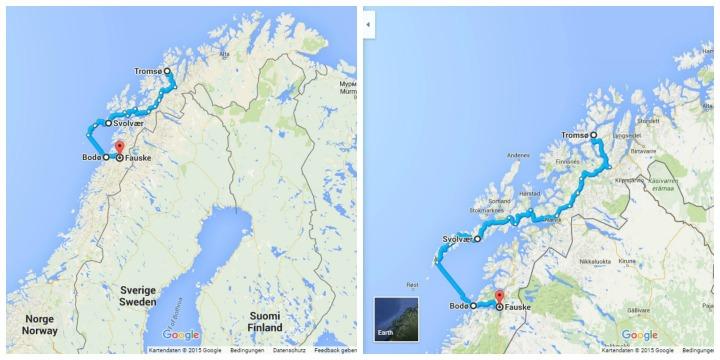 Map Tromso Lofoten Bodo
