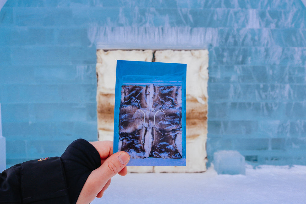 The hotel is made completely out of ice and the rooms get a completely new design every year. There are only two things that can be found at the icehotel each year: the doors covered in reindeer skin with reindeer antlers being used as door handles...