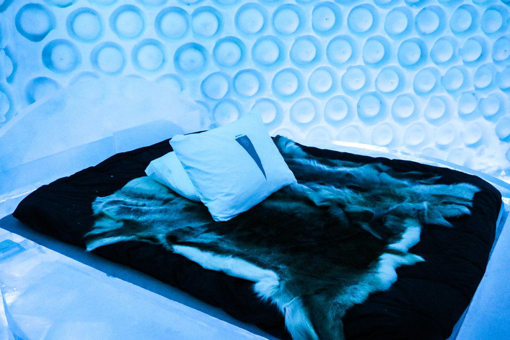 While the beds at the icehotel are of course made of ice, you sleep on a mattress with reindeer skins to keep you warm!
