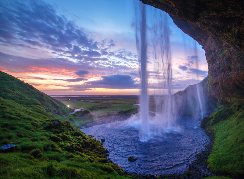 26192008 - seljalandfoss waterfall at sunset, iceland  horizontal shot