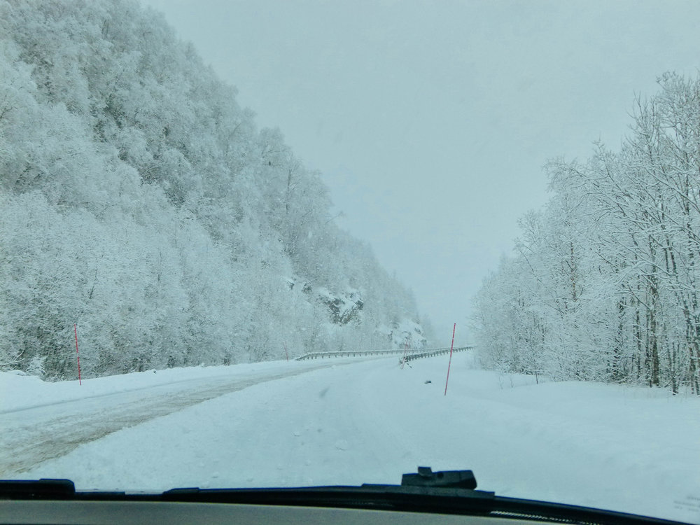 Driving in a snowstorm in Northern Norway in March
