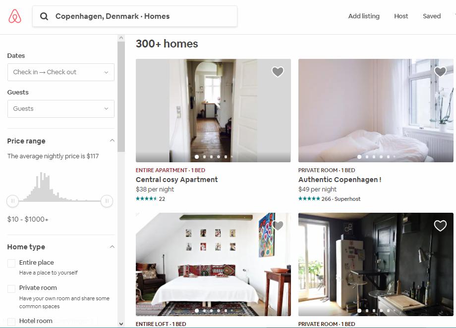 Airbnb in Kopenhagen Dänemark