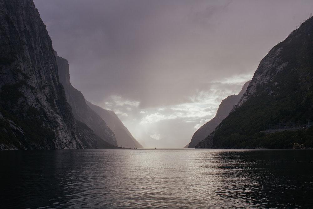 lysefjord stavanger in autumn