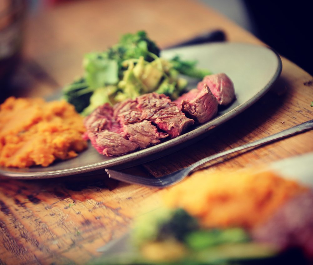 Sweet Potato Mash, Avocado & Brocoli salad with Steaks