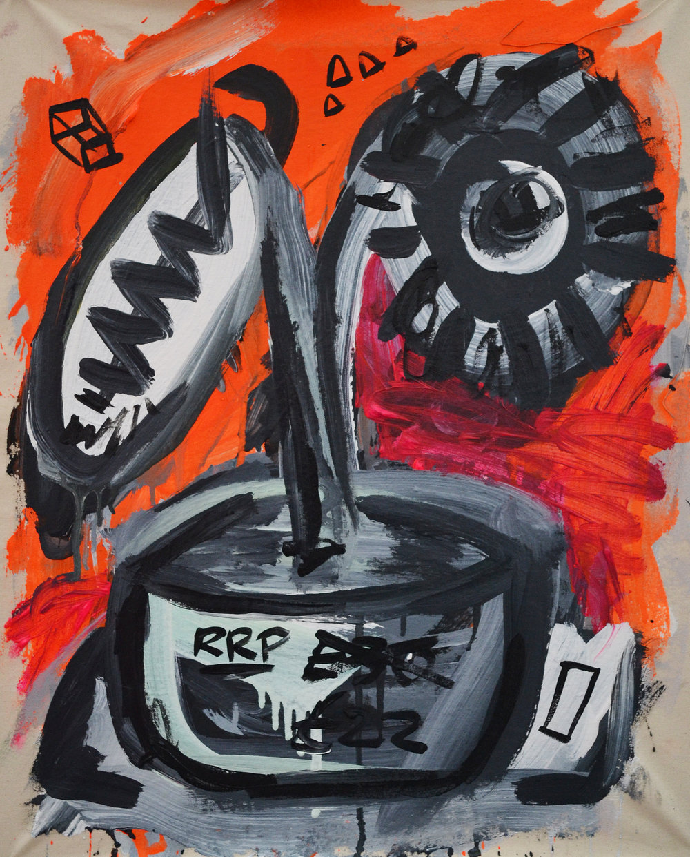 RRP$30,21x24 Acrylic, spray paint, pencil and crayon on canvas
