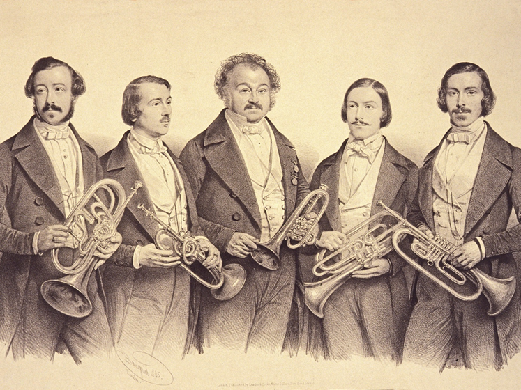 Lithograph by Baugniet, published July 1845, London   (left to right:   George, Henry, John, Theodore, William  . From the c  ollection   of Arnold Myers.