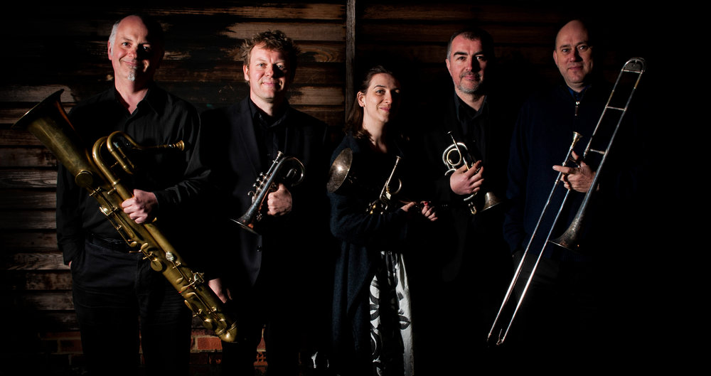 The Prince Regent's Band (left to right: Jeff Miller, Richard Fomison, Anneke Scott, Richard Thomas and Phil Dale