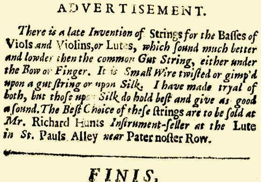 Fig. 1: An advert in John Playford's 1664 publication 'An introduction to the skill of Musik' which is one of the earliest references to metal wound gut strings
