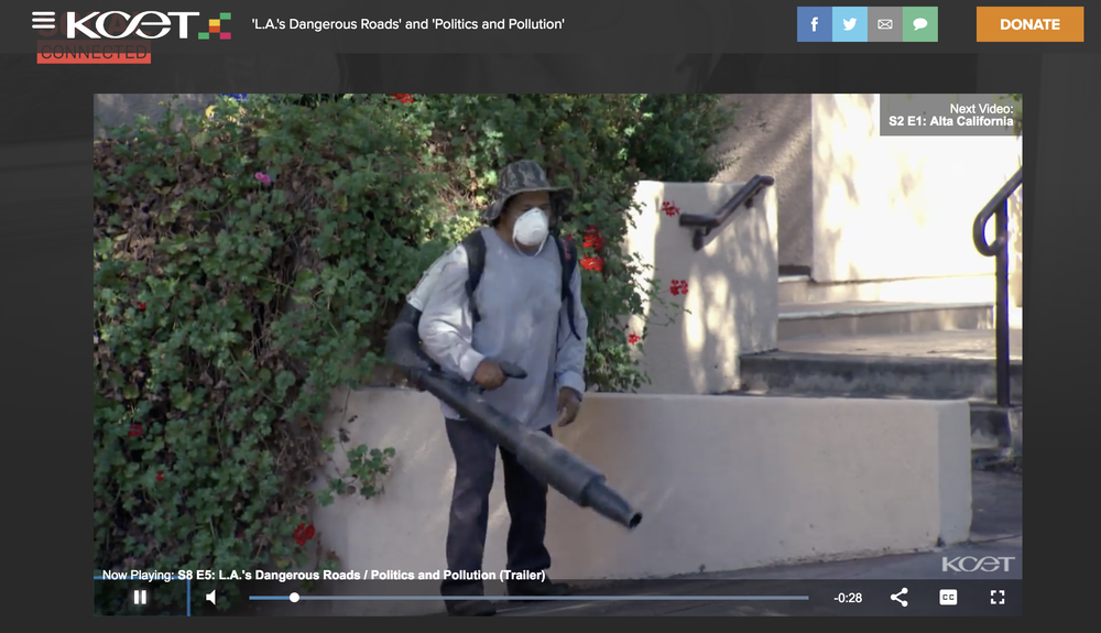 """It turns out noise pollution is not the biggest health problem created by gas leaf blowers."" Screenshot of KCET report; for more, go to  their site ."