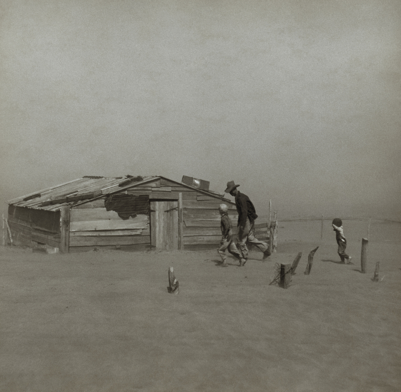 One of Dorothea Lange's famed pictures of Dust Bowl Oklahoma. This is absence of topsoil, at its extreme. (Library of Congress)