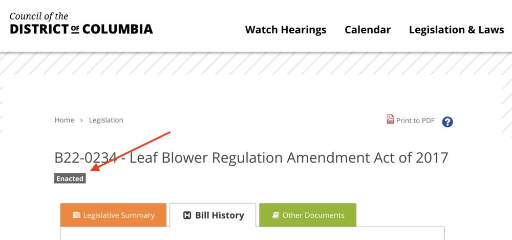 From the D.C. City Council's  legislative-status site .