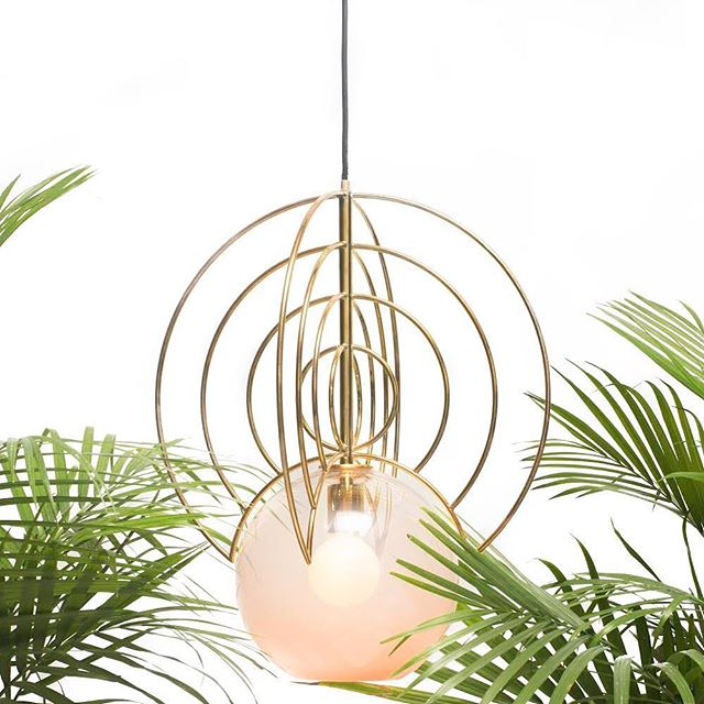 Aeneas Light in brass and translucent pink globe blown by the talented @johnthogan. Image: @miles_fortune