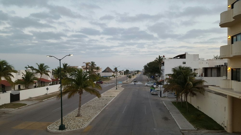 Empty streets filled with resorts but no visitors.