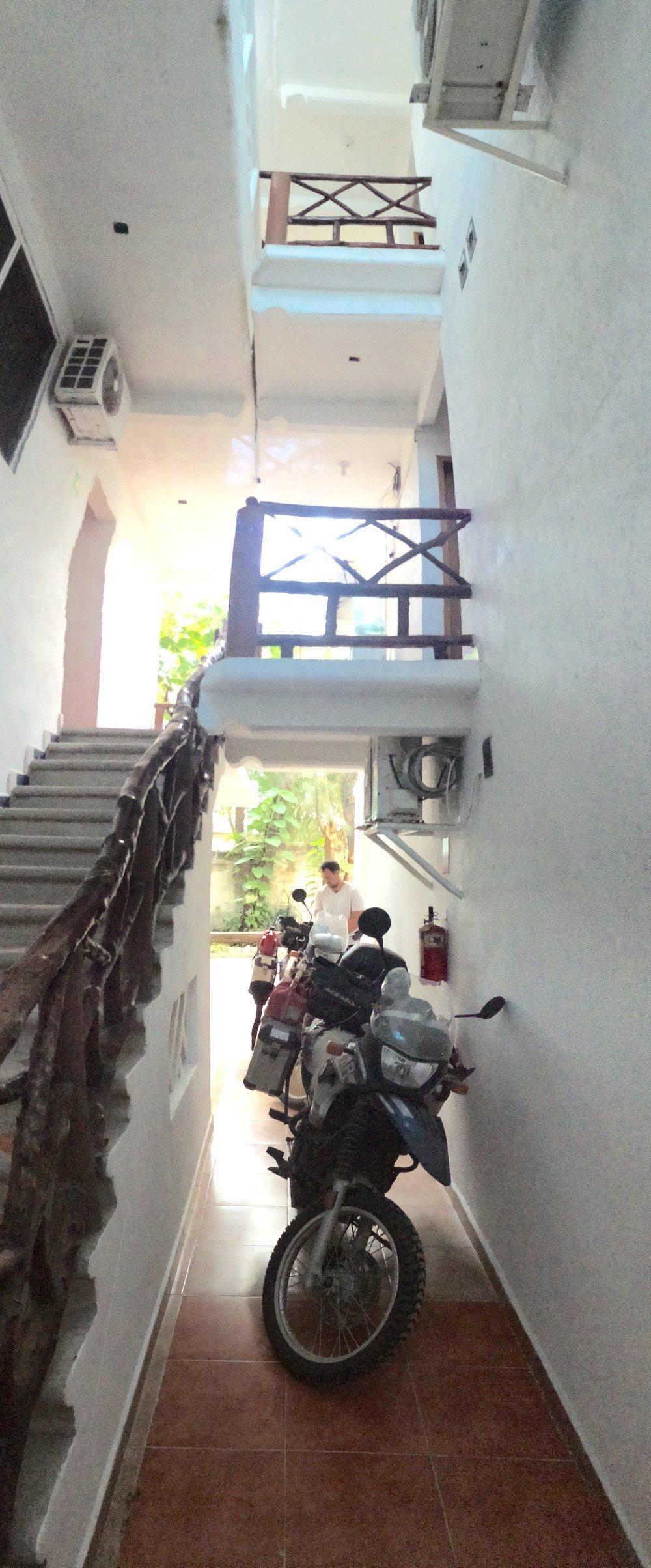 Indoor parking at Hotel Azul in Cuidad del Carmen