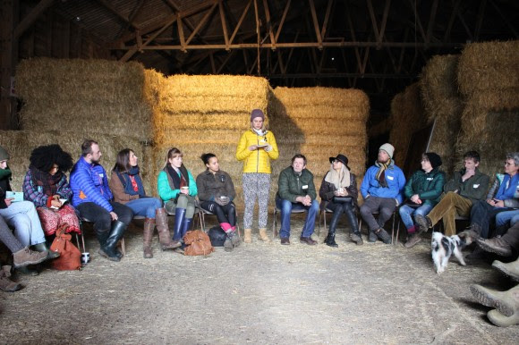 Carolin welcoming the #OurField Weston group in the Weston barn!