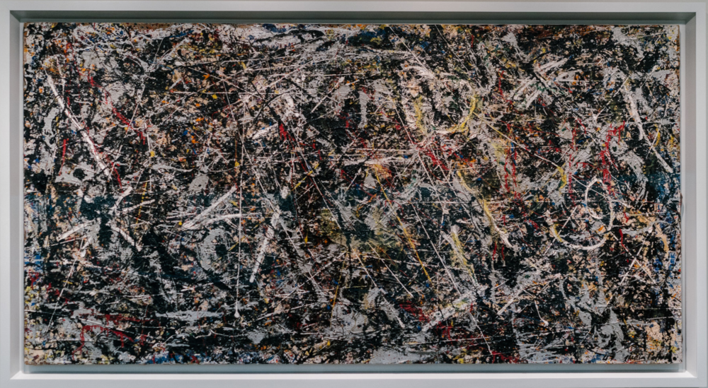 ^ Alchemy, by Jackson Pollock, 1947 (restored). Peggy Guggenheim promoted and sold his paintings around the world. She has said that discovering Pollock was her greatest achievement.