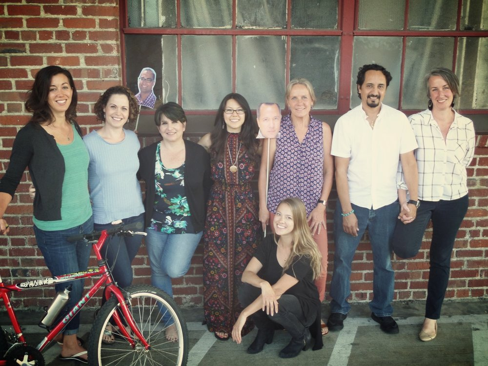 FROM LEFT TO RIGHT : TESSA SINCLAIR, JENNICA MURRAY-ELIZONDO, JEAN DONALD, TRACI UCHIDA, ANNE KLEIN, CHRIS SWAYNE (front), PABLO MARTINEZ, LACY MARTINEZ   REPRESENTED IN THE 2ND DIMENSION : PAULO REBELLO (center) AND RAMAN SANDHU (left)