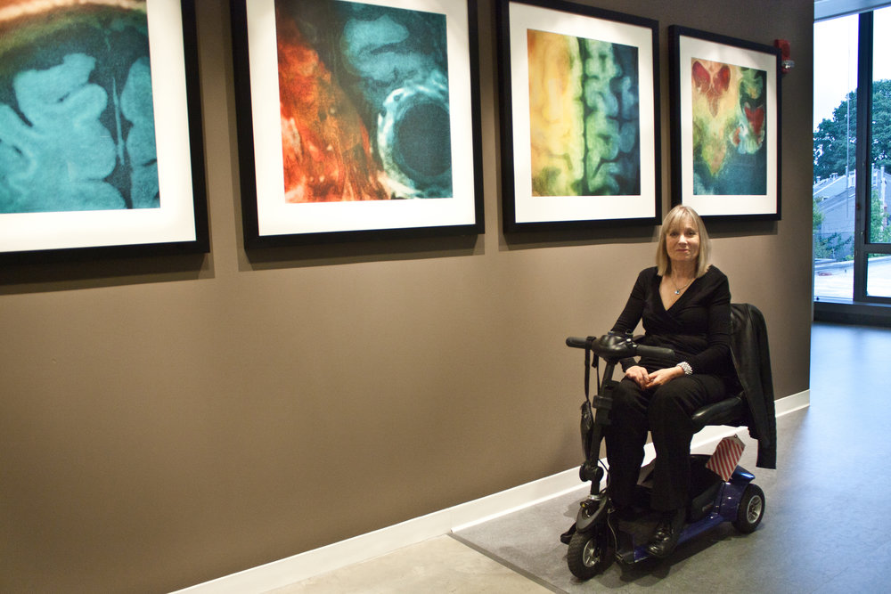 Elizabeth with her work at the Center for Brain Science, Harvard University.