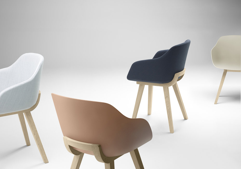 4 of 4 | Kuskoa Bi chair shown in a bioplastic or with the seat and/or inside back fully upholstered with oak legs