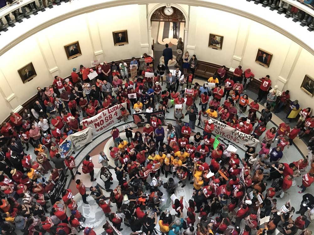 LUTU and other political coalitions at the Texas State Capitol protesting SB4.