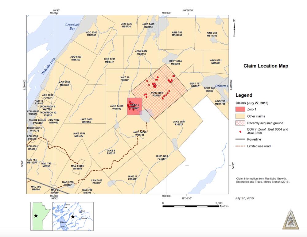 Surrounding map of claim location of Zoro 1
