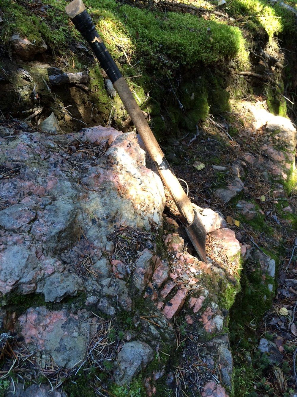 Outcrop of spodumene-bearing Zoro pegmatite Dyke 1.