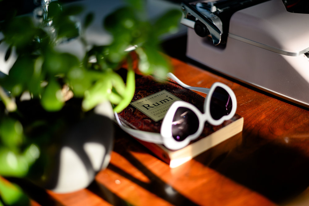 heart sunglasses and book