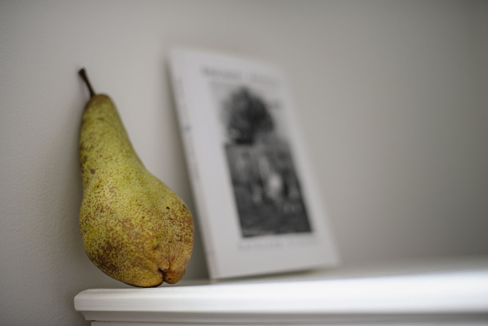 pear and book
